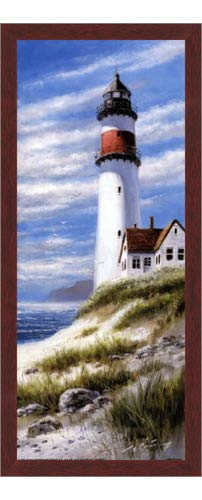 Amazon com: Poster Palooza Framed Lighthouse On Cliff- 8x20