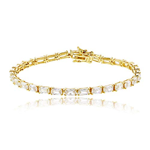 Decadence Sterling Silver Yellow Baguette Tennis Bracelet