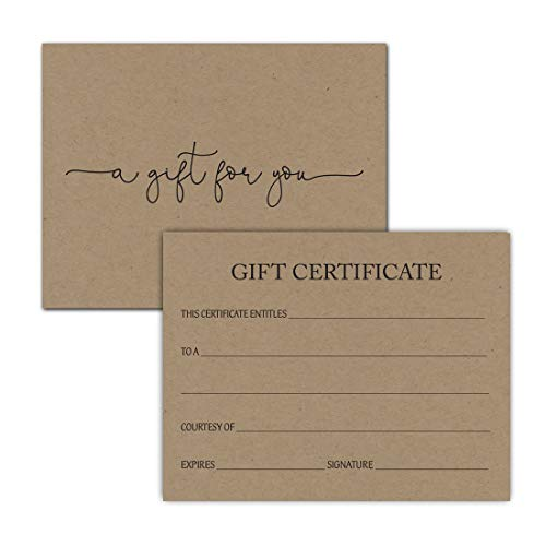 24 Gift Certificate Voucher for Salon Spa Small Business - Certificates Adams Gift