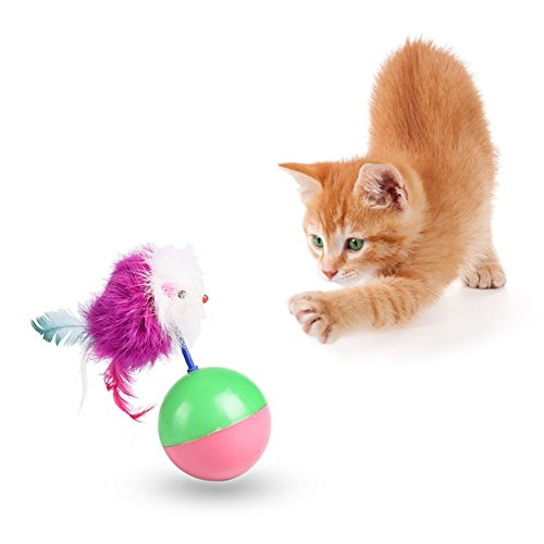 Patgoal Cat Tumbler Toy Cat Teaser Ball with Feather Mouse Pet Interactive Wobbler Toy