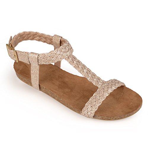Brinley Co. Womens Gladiator T-strap Sandals Gold 8.5 M US
