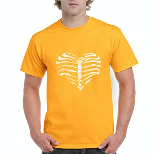 Xekia Ribcage Halloween Party Costume Fashion Party People Best Friends Couples Gifts Men's T-Shirt Tee Large Gold]()