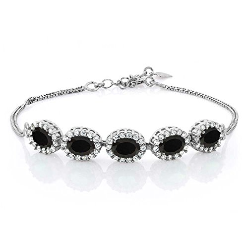 Black Onyx And Sterling Silver Bracelet (4.44 Ct Oval Black Onyx 925 Sterling Silver Bracelet 7