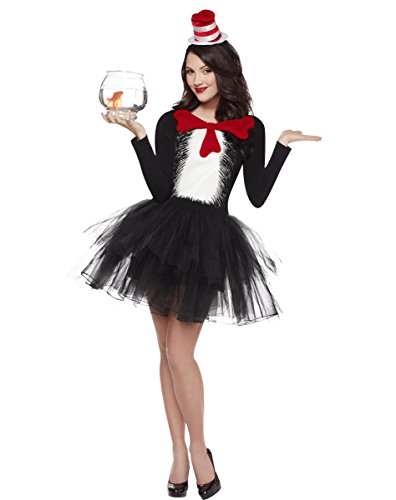 Spirit Halloween Adult Cat in the Hat Tutu Costume- Dr Seuss,Black,S