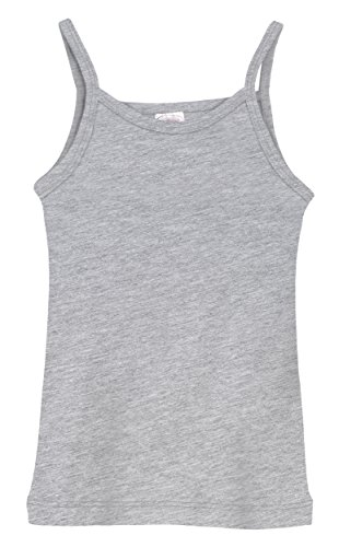 City Threads Little Girls' Cotton Camisole Cami Tank Top T-Shirt Tee Tshirt Spaghetti Straps Summer Play School Sports Sensitive Skin SPD Sensory Sensitive Clothing - Heather Grey - ()