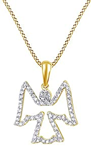 1/3 Ct Natural Diamond Angel Pendant Necklace Women's In 14K Solid Yellow Gold