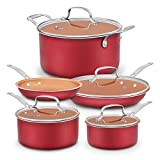 Dealz Frenzy Aluminum-Infused Copper Ceramic Non-Stick Cookware Set - Induction Bottom Oven-Safe Pots and Pans Set,Ceramic Coated Cooking Pots,PFOA Free,FDA,Dishwasher Safe,Mother's Day Gift,9-Pc Red