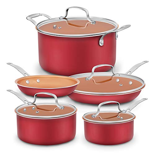 Dealz Frenzy Aluminum-Infused Copper Ceramic Non-Stick Cookware Set - Induction Bottom Oven-Safe Pots and Pans Set, Ceramic Coated Cooking Pots, PFOA Free, FDA,Dishwasher Safe, 9-Piece Red