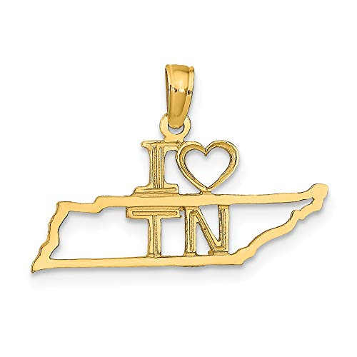 14k Yellow Gold Solid Tennessee State Pendant Charm Necklace Travel Transportation I Fine Jewelry Gifts For Women For Her ()