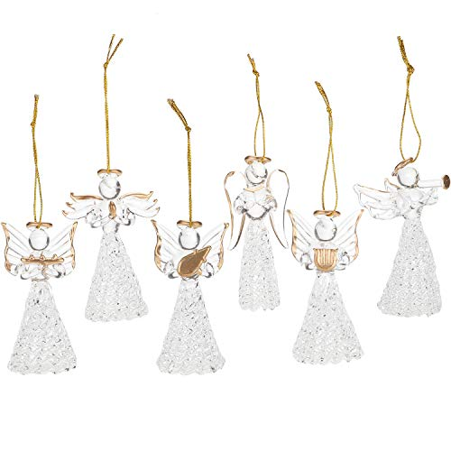 Sea Team Clear Glass Angel Ornaments for Christmas Tree Decorations, 75mm/2.95-inch, Set of 6 (Gold)