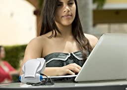Cool On The Go! Personal Clip On Fan with LED Lights - Versatile Hands-Free Personal Cooling Device - USB Fan/Stroller Fan/Table Fan/Travel Fan/Wearable Fan/Tent Fan/Fan & More... Red/White