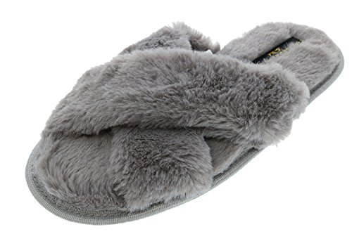 Slipper Sandal Faux Albert Charles Cross Slide Fur Criss Grey Women's 8xOqWCwv