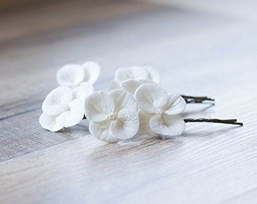 Hydrangea hair clips - white hydrangea flowers - bridal hair accessories - wedding hair accessories - bobby pin flower for hair