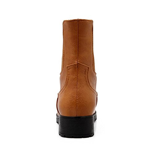 Pull Allhqfashion Solid On Boots Closed Heels Low Toe Brown Round Material Soft Women's zqxzpwvWtr