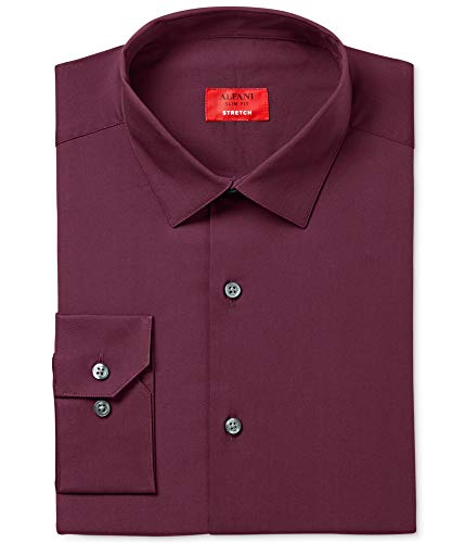 Alfani Mens Slim Fit Stretch Button Up Dress Shirt, Purple, 15-15.5