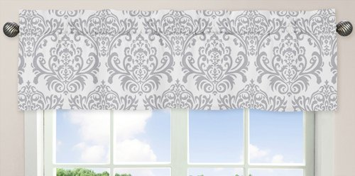 Pink, Gray and White Elizabeth Window Valance