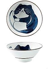 SCAU 7 Inch Cartoon Cat Ceramic Ramen Bowl for Soup, Salad, Rice Porcelain Cereal Bowl Japanese Style Set of 2