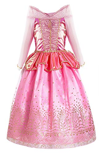 Okidokiyo Little Girls Princess Aurora Costume Halloween Party Dress Up (Long Sleeve Pink, 4-5 Years)