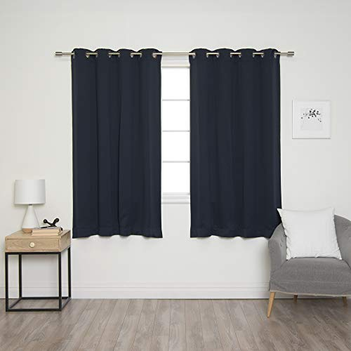 Best Home Fashion Basic Thermal Insulated Blackout Curtains - Antique Bronze Grommet Top - Navy - 52