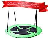 40 INCH Round Playground Swing - Outdoor Swing Swingset Accessories Backyard  Ultra Strong - Green - Toddler, Kids Safe & Easy Mounting to Playhouse, Playset, Trees or Existing Playground