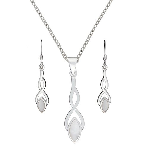 Silverly Women's .925 Sterling Silver Mother of Pearl Shell Celtic Knot Earrings Necklace Set, 46cm