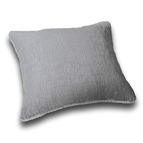 DaDa Bedding Throw Pillow Covers - Set of 2 Elegant Floral Diamond Pattern - Stone Washed Grey 18