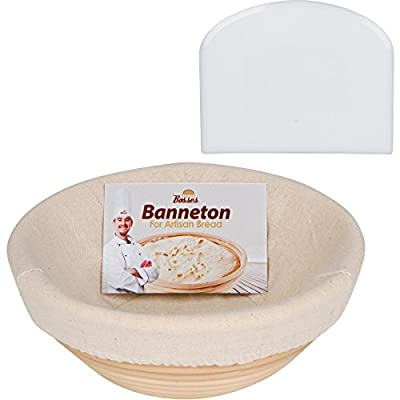 Professional Round Banneton Proofing Basket (9 Inch) for Dough with Cloth Liner and Bowl Scraper box– for Perfect Size Bread Shape and Flour Ring Pattern