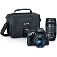 Canon 1159C008 EOS Rebel T6 Digital SLR Camera Kit with EF-S 18-55mm and EF 75-300mm Zoom Lenses - 3-inch LCD Display - Black - 100EOS Shoulder Bag with Strap (Certified Refurbished)