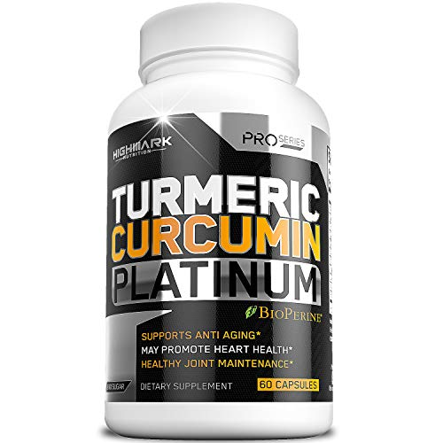 HighMark Turmeric Platinum, Curcumin Supplement with Bioperine, Ginger & Glucosamine Organic Capsules Supplements Joint Support, Fight Inflammation, Tumeric Natural Pain Relief, Turmeric Black Pepper