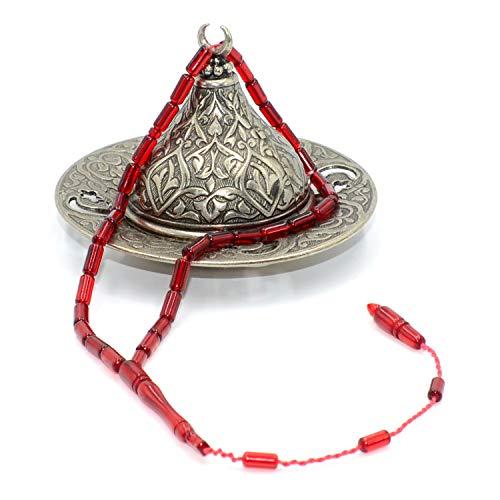 (Special Red Squeezing Amber Prayer Bead (33 Beads) Tesbih-Tasbih-Tasbeeh-Misbaha-Masbaha-Subha-Sebha-Sibha-Rosary-Worry Beads )