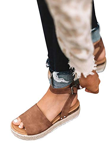 atform Espadrilles Ankle Strap Buckle Open Toe Faux Leather Studded Wedge Summer Sandals ()