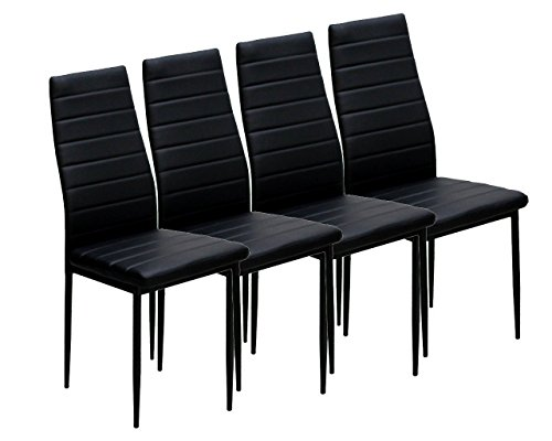 Azadx Elegant Rectangular Casual Simple Assembled Dining Table and Set of 4 Chairs Black (4 Chairs) by Azadx