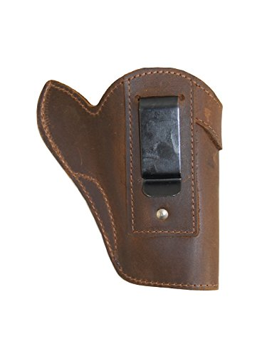 Barsony Holsters and Belts Charter Arms Colt Ruger S&W Taurus Small/Medium .22 .38 .44 .357 Revolver Draw Leather Inside The Waist Band, Brown, Right Hand, Size 3