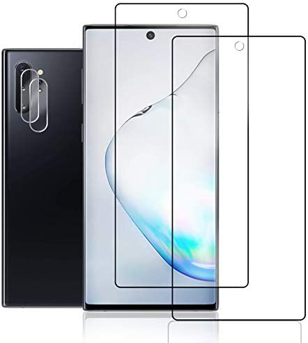 Galaxy Note 10 Plus Screen Protector + Camera Lens Protector by way of JKPNK, [2 Pack + 2 Pack] Full Coverage HD [Anti-Glare] [Bubble-Free] Screen Protector for Samsung Galaxy Note 10 Plus
