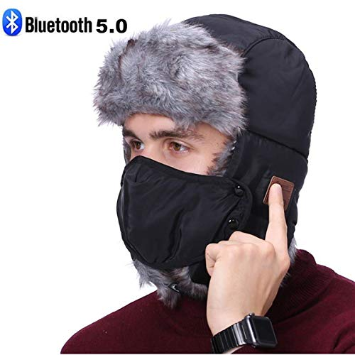 Bluetooth Trapper Hat, Winter Trooper Headphone Hat with Wireless Bluetooth 5.0, Windproof Ski Music Hat Built-in Earphones Mic, Birthday, Christmas Electronic Gifts for Men Women Outdoor Sports (For Christmas Electronics)