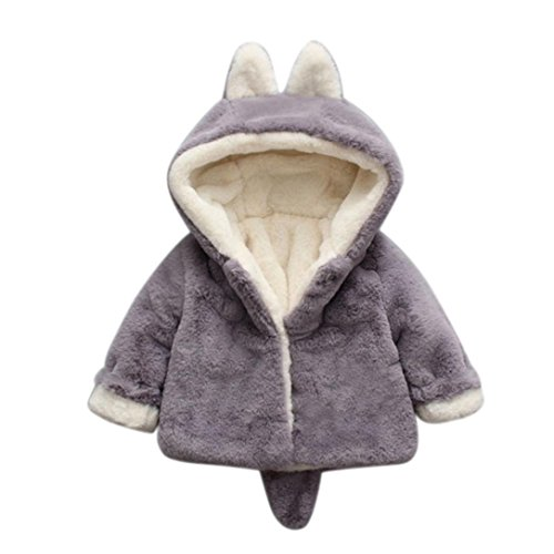TRENDINAO Infant Toddler Baby Girl Winter Hoodies Jacket Coat Thick Outerwear (12-18 Months, Grey)