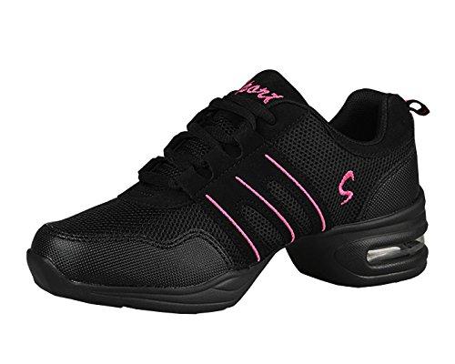 VECJUNIA Ladies Summer Low-Top Middle Heel Mesh Sneakers Modern Softsole Jazz Dance Shoes Black Red 4pdQbMQ