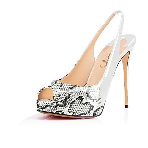 Women'sPeepToeSlingback Sandals Hidden Platform Pumps 5