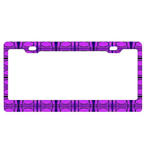 AUdddflsicenshf Bright Pink Mod Circles with Green Lines Car Licence Plate Covers Holders with Chrome Screw Caps for US Vehicles (Name Tags Mom Mod)