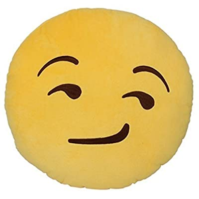 "PLUSH & PLUSH TM 12"" Inch / 30cm Large Emoji Pillows Smiley Emoticon Soft Plush Stuffed Yellow Roundy (USA SELLER) (Smirking): Toys & Games"