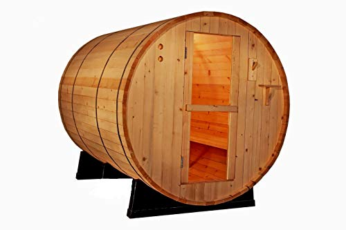 Canadian Red Cedar Wood 6' Foot Outdoor Barrel Sauna, 4 Person, with 6KW Wet or Dry Heater and Lava Rocks