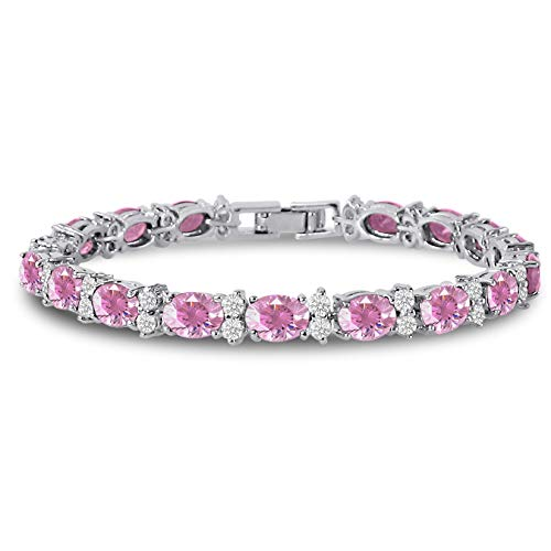 (Kezef Cubic Zirconia Tennis Bracelet CZ Round Cut 2.5mm White 7x5mm Oval Cut Pink Silver Plated Brass 7 in)
