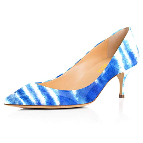 YCG Women's Low Heels Pumps Blue White Article Stripe Tattoo Printing Pleather Comfort Slip on Shoes US 7