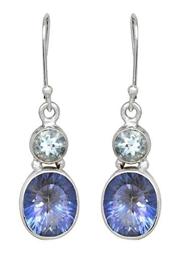 Blue Topaz Violet Quartz Dangle Earrings Solid 925 Sterling Silver Gemstone Jewelry