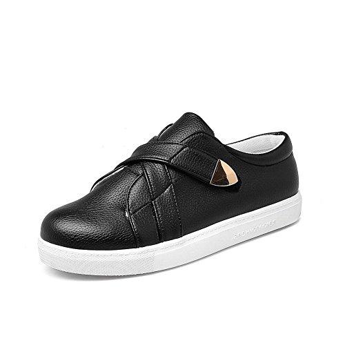 BalaMasa Ladies Solid Round-Toe No-Closure Urethane Flats Shoes Black s01dM