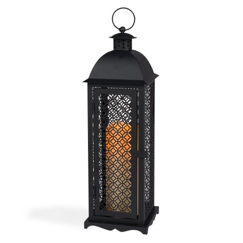 Gerson 17-Inch Antique Style Black Metal Mesh Lantern with 3 by 8-Inch Indoor/Outdoor LED Candle Metal Mesh Lantern