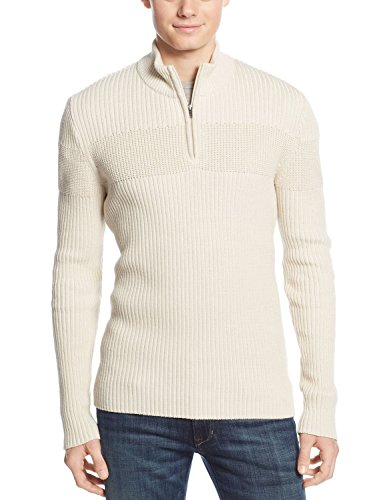(American Rag Ribbed Quarter Zip Mock Neck Sweater Oatmeal Ivory XX-Large)