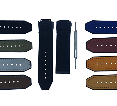 17x26mm Watch Band Strap for Big Bang Matte Calf Leather - Free Spring Bar Tool (Black)