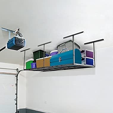 FLEXIMOUNTS 4x8 Heavy Duty Overhead Garage Ceiling Storage Rack, 96  Length x 48  Width x 40  Height, Black (Two-Color Options)