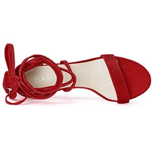 Allegra K Damen Sommer offene Zehen Schnuerschuh mittlere Sandalen Blockabsatz Rot